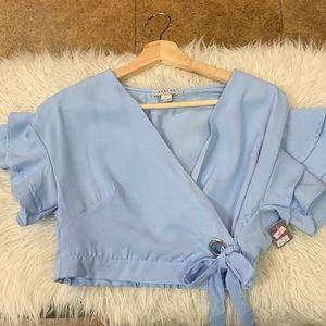 Tops - Baby blue crop top